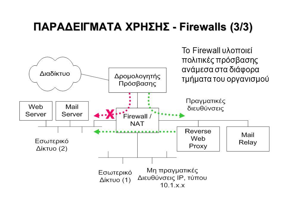 ΠΑΡΑΔΕΙΓΜΑΤΑ ΧΡΗΣΗΣ - Firewalls (3/3)