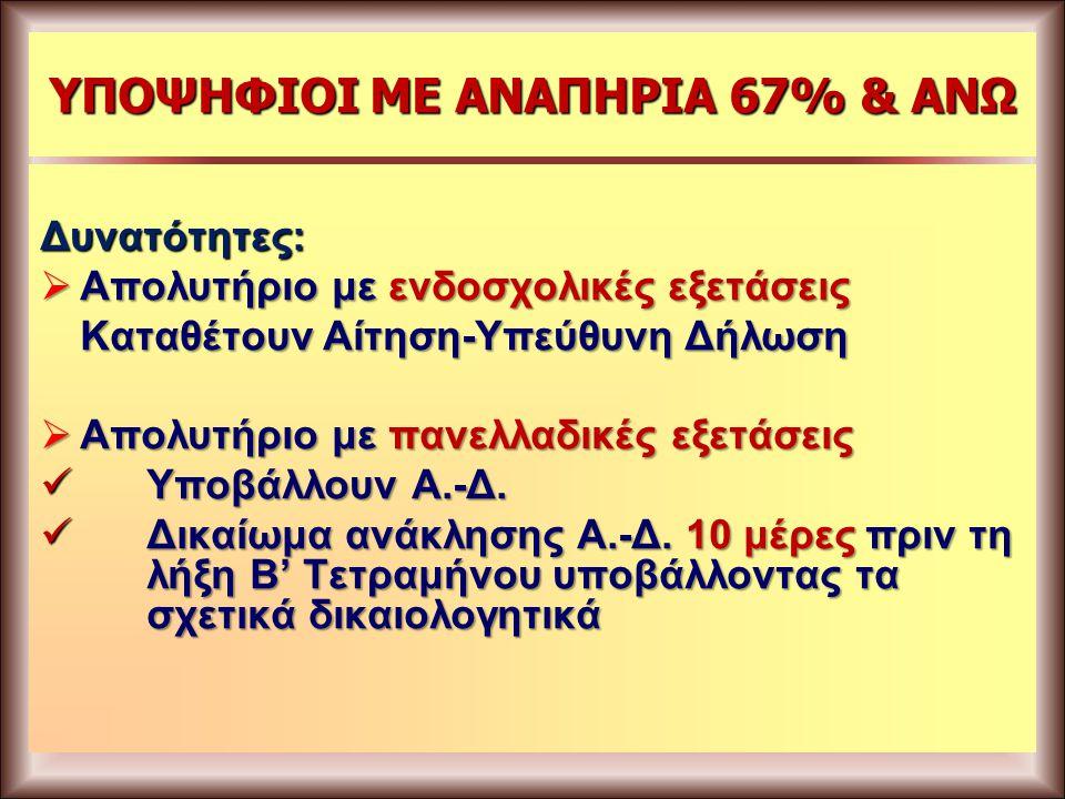 ΥΠΟΨΗΦΙΟΙ ΜΕ ΑΝΑΠΗΡΙΑ 67% & ΑΝΩ