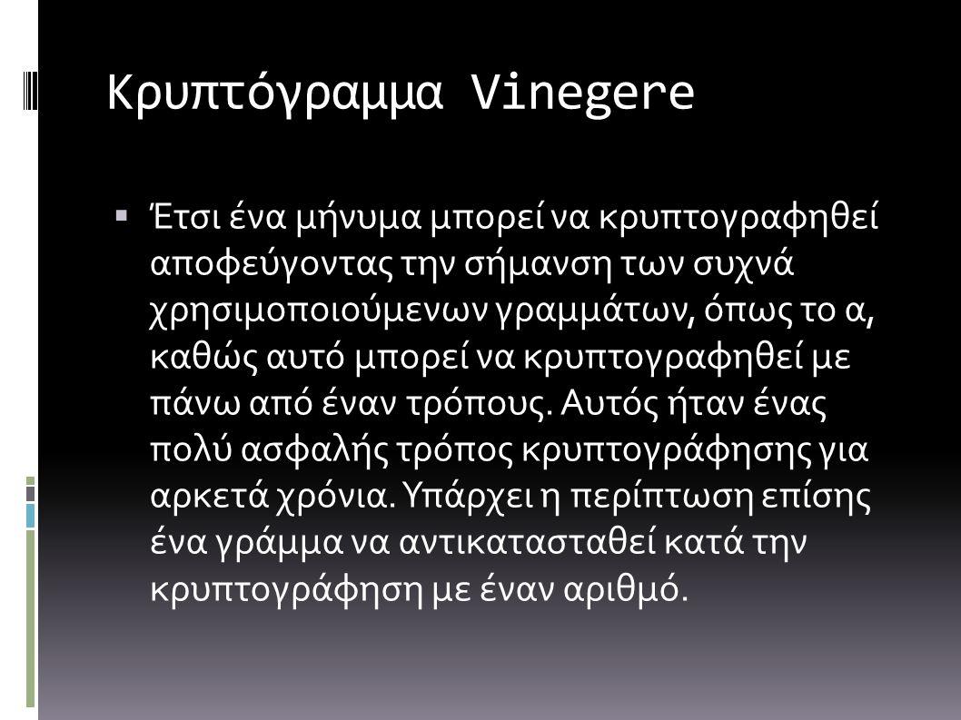 Κρυπτόγραμμα Vinegere