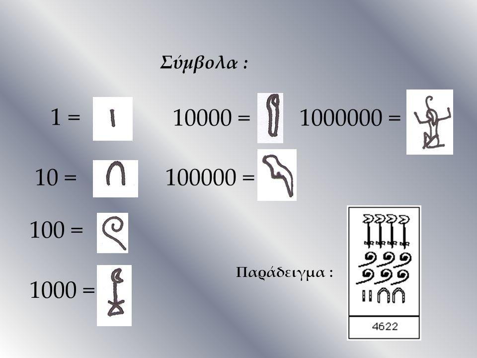 Σύμβολα : 1 = 10000 = 1000000 = 10 = 100000 = 100 = Παράδειγμα : 1000 =