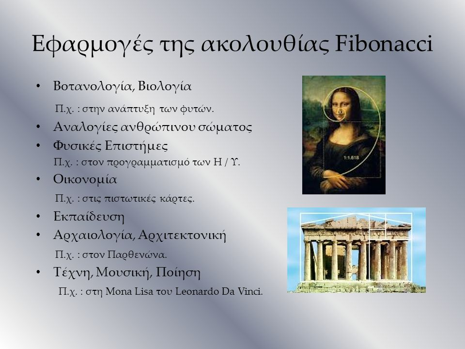 Εφαρμογές της ακολουθίας Fibonacci