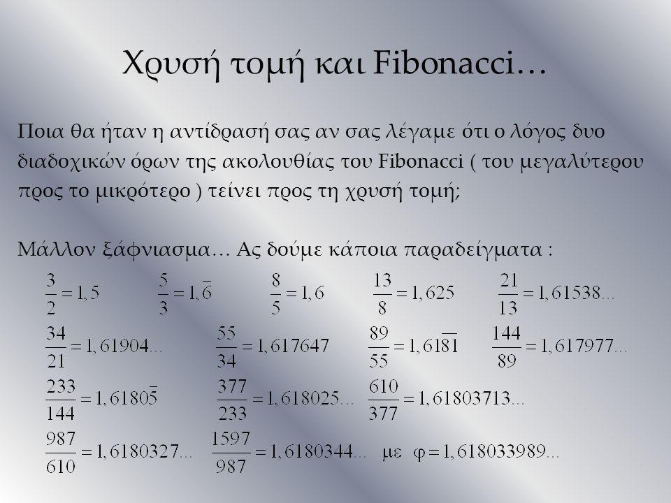 Χρυσή τομή και Fibonacci…