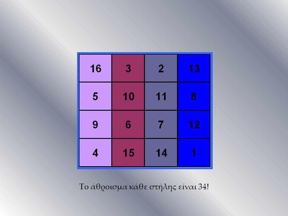 Το άθροισμα κάθε στήλης είναι 34!