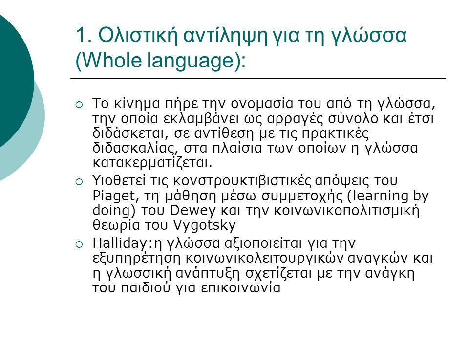 1. Ολιστική αντίληψη για τη γλώσσα (Whole language):