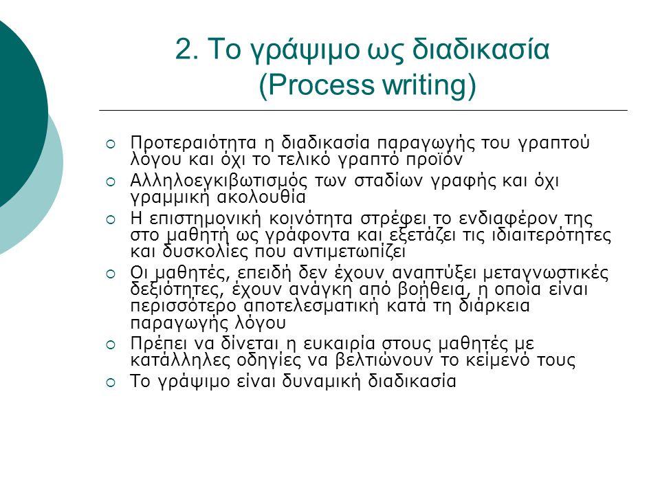 2. Το γράψιμο ως διαδικασία (Process writing)