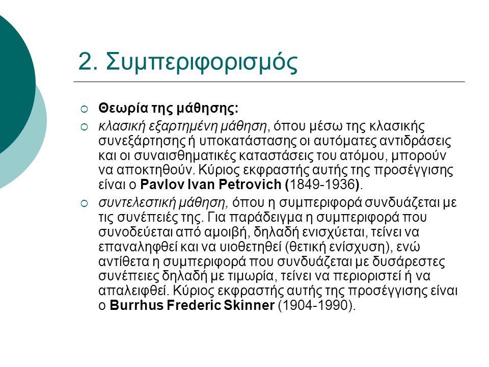 2. Συμπεριφορισμός Θεωρία της μάθησης: