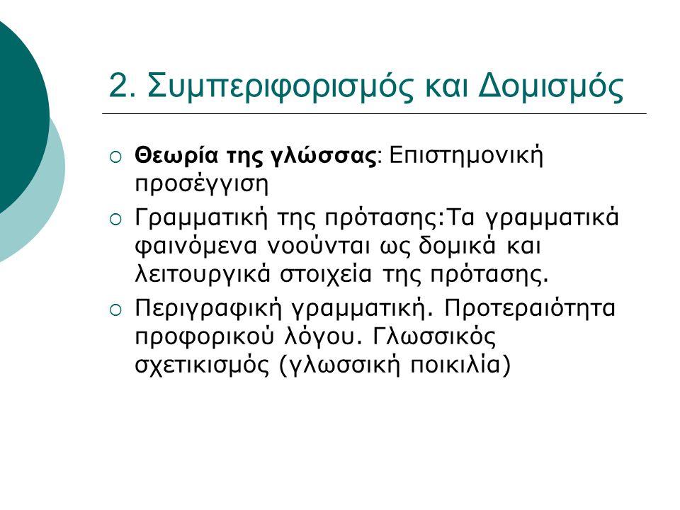 2. Συμπεριφορισμός και Δομισμός