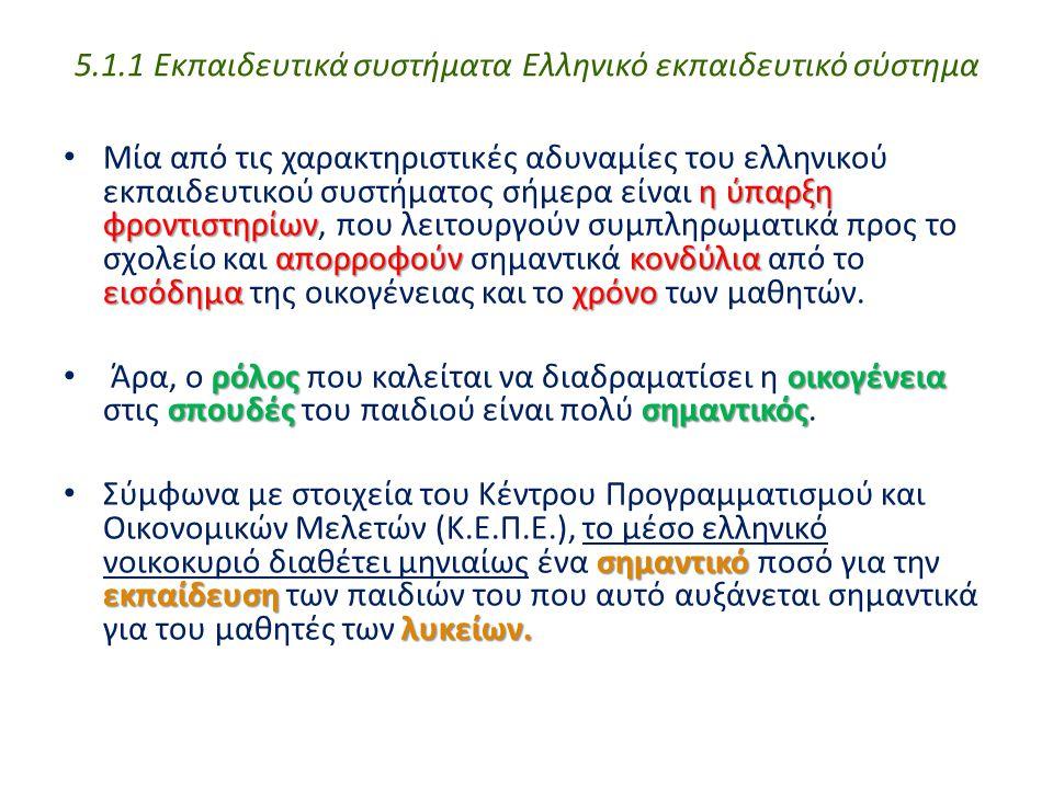 5.1.1 Εκπαιδευτικά συστήματα Ελληνικό εκπαιδευτικό σύστημα
