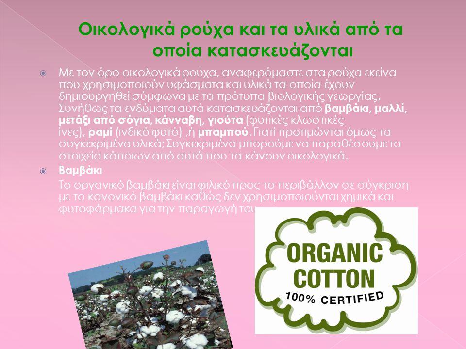 Οικολογικά ρούχα και τα υλικά από τα οποία κατασκευάζονται