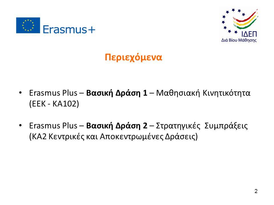 Περιεχόμενα Erasmus Plus – Βασική Δράση 1 – Μαθησιακή Κινητικότητα (ΕΕΚ - KA102)