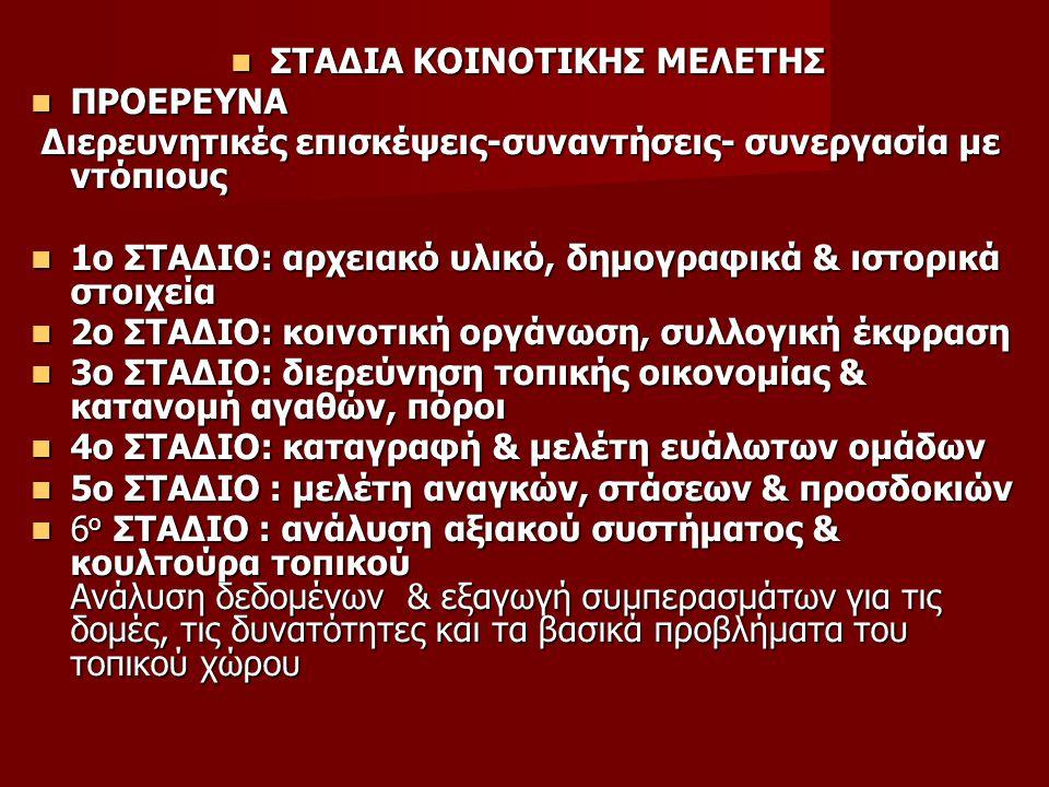 ΣΤΑΔΙΑ ΚΟΙΝΟΤΙΚΗΣ ΜΕΛΕΤΗΣ