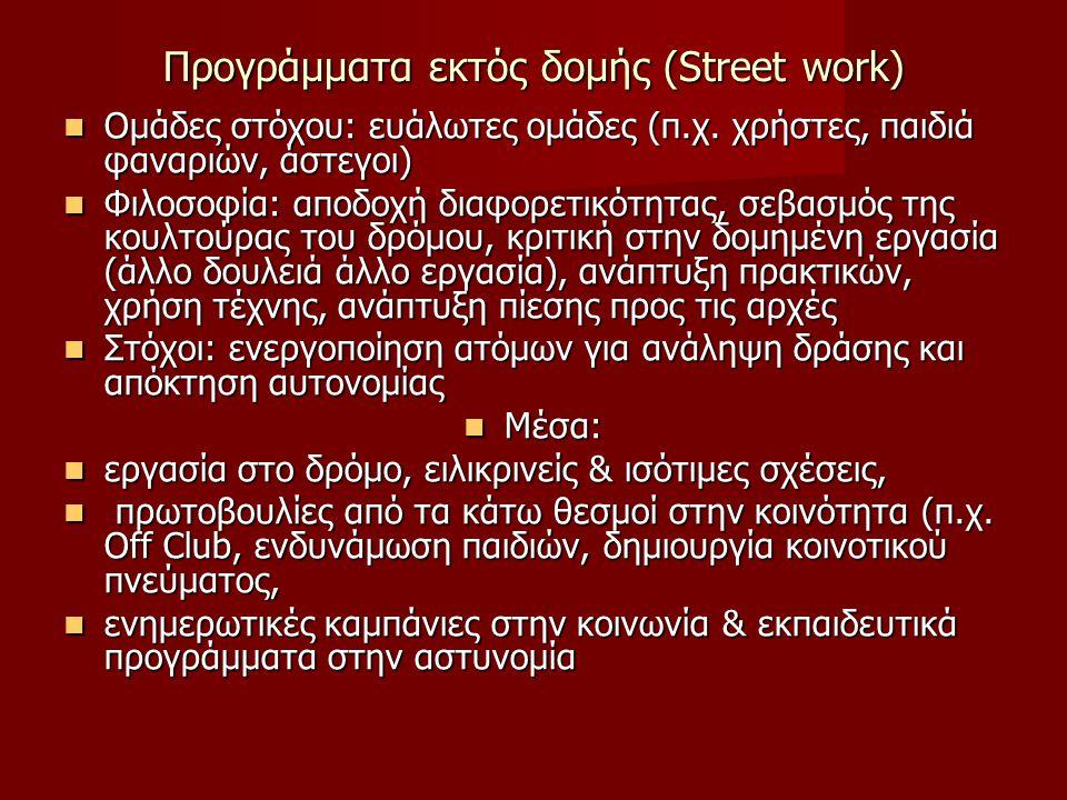 Προγράμματα εκτός δομής (Street work)