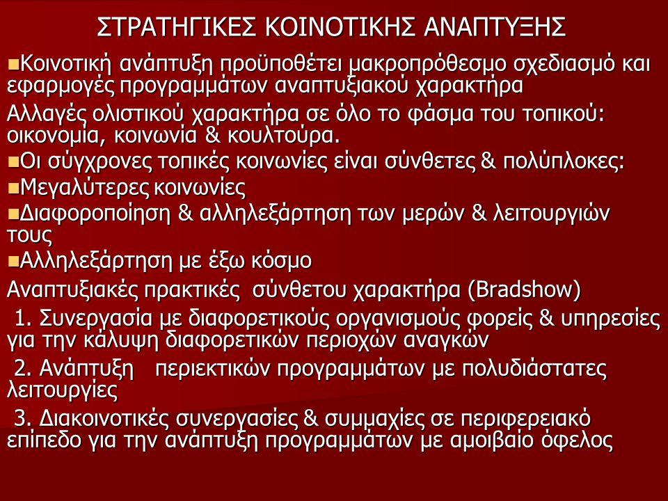 ΣΤΡΑΤΗΓΙΚΕΣ KOINOTIKHΣ ANAΠΤΥΞΗΣ