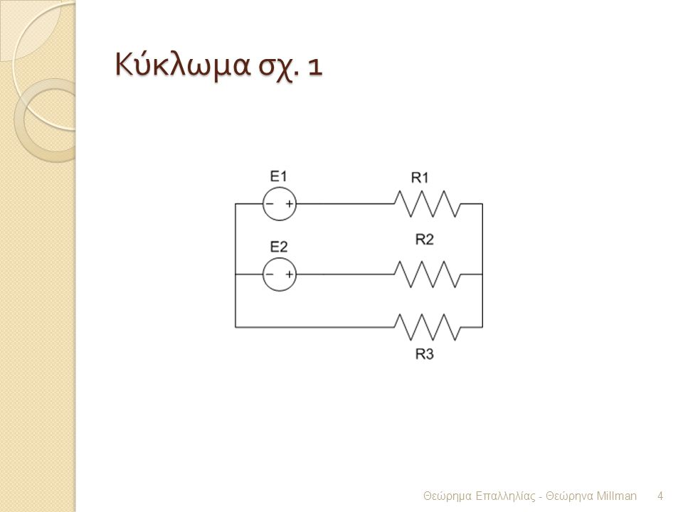 Κύκλωμα σχ. 1 Θεώρημα Επαλληλίας - Θεώρηνα Millman