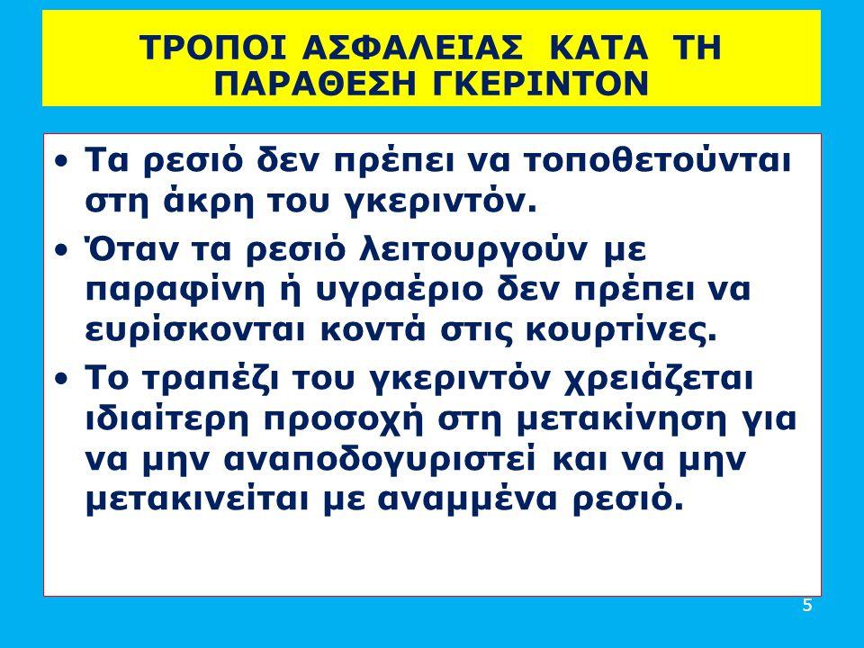 ΤΡΟΠΟΙ ΑΣΦΑΛΕΙΑΣ ΚΑΤΑ ΤΗ ΠΑΡΑΘΕΣΗ ΓΚΕΡΙΝΤΟΝ