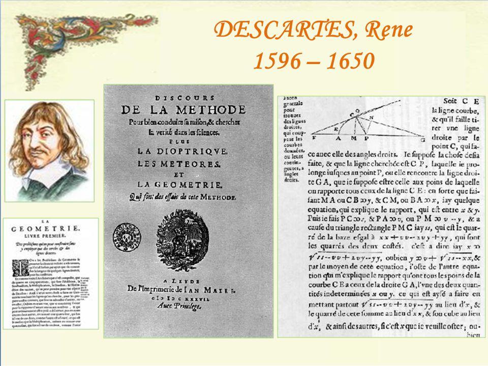 DESCARTES, Rene 1596 – 1650