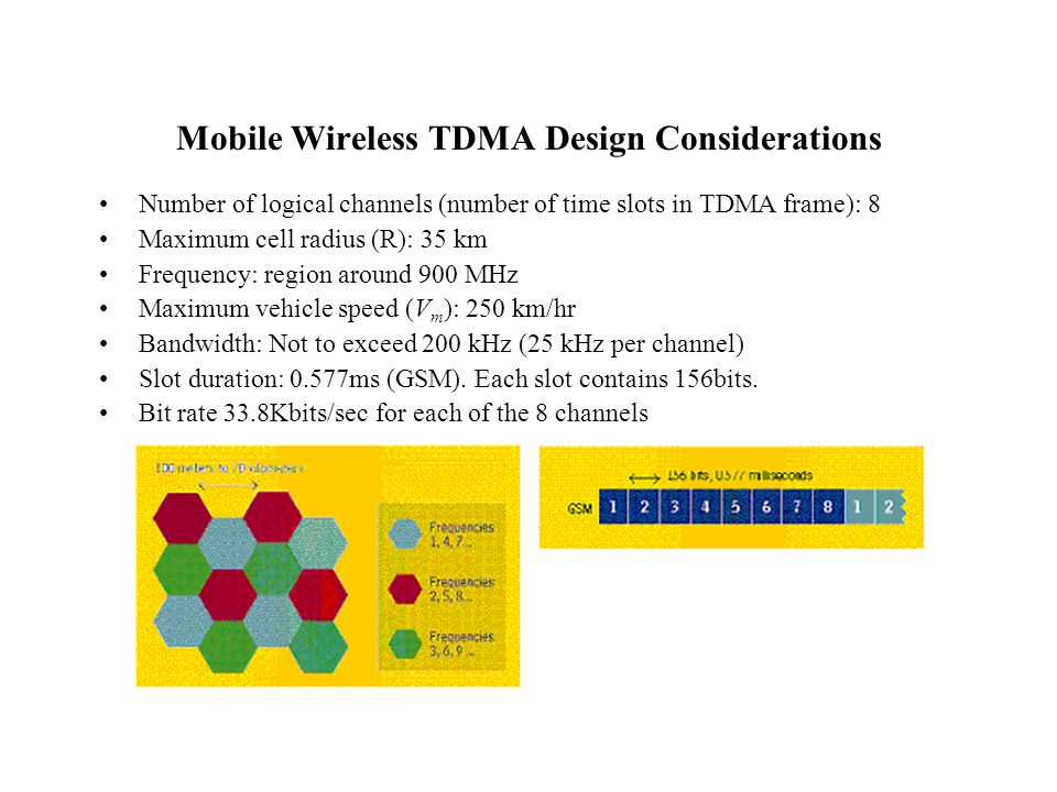 Mobile Wireless TDMA Design Considerations