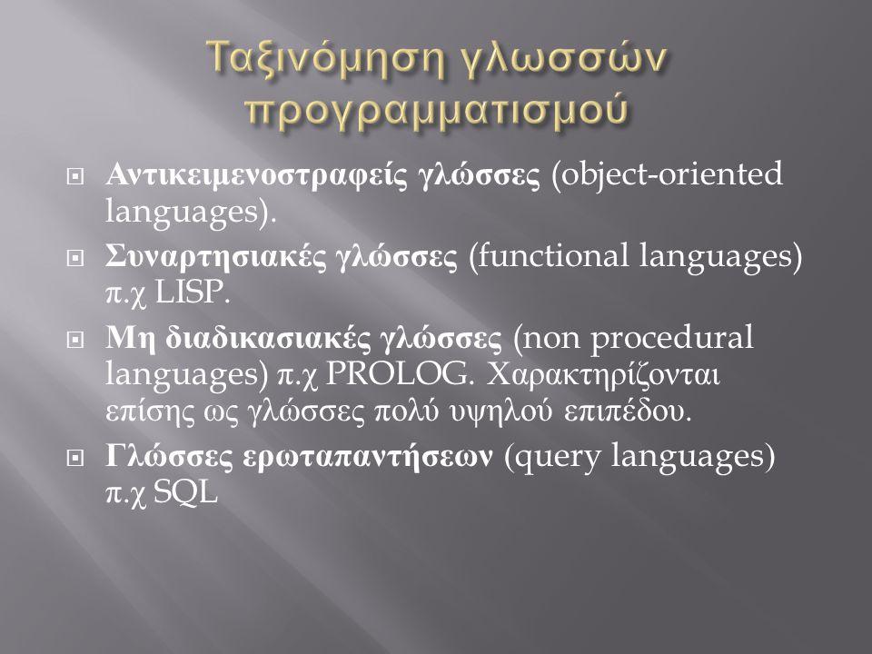 Ταξινόμηση γλωσσών προγραμματισμού