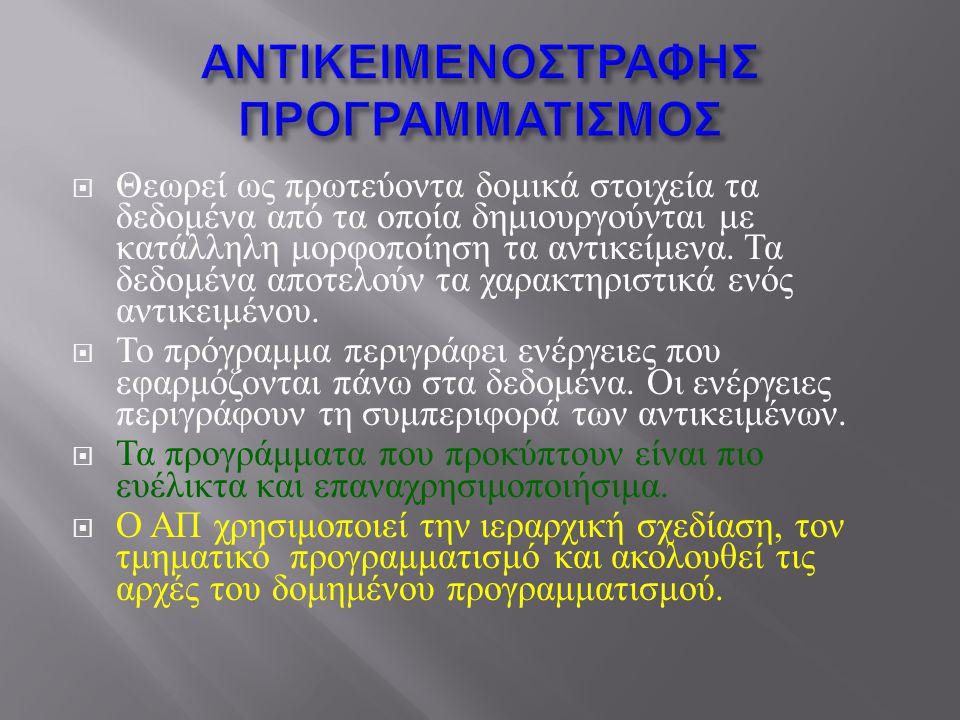 ΑΝΤΙΚΕΙΜΕΝΟΣΤΡΑΦΗΣ ΠΡΟΓΡΑΜΜΑΤΙΣΜΟΣ