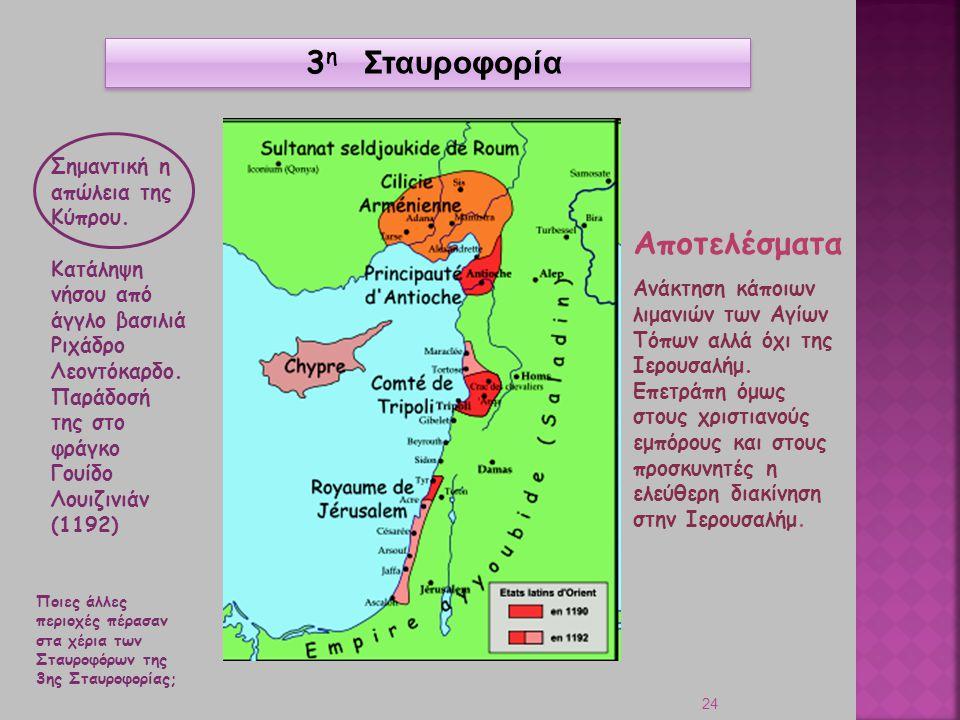 3η Σταυροφορία Αποτελέσματα Σημαντική η απώλεια της Κύπρου.