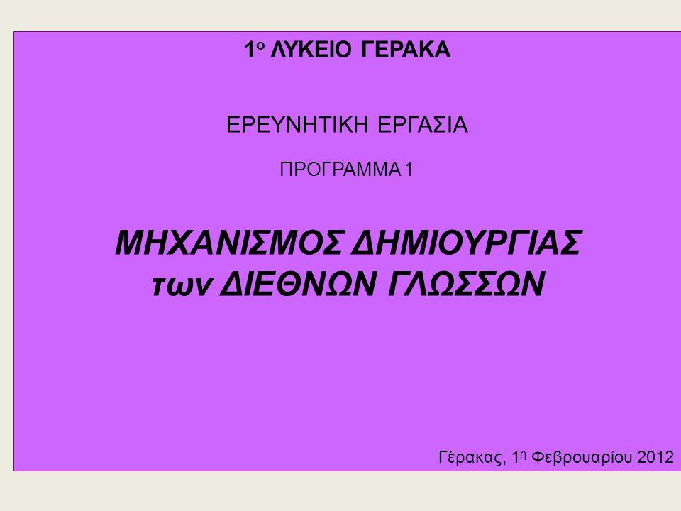 ΜΗΧΑΝΙΣΜΟΣ ΔΗΜΙΟΥΡΓΙΑΣ