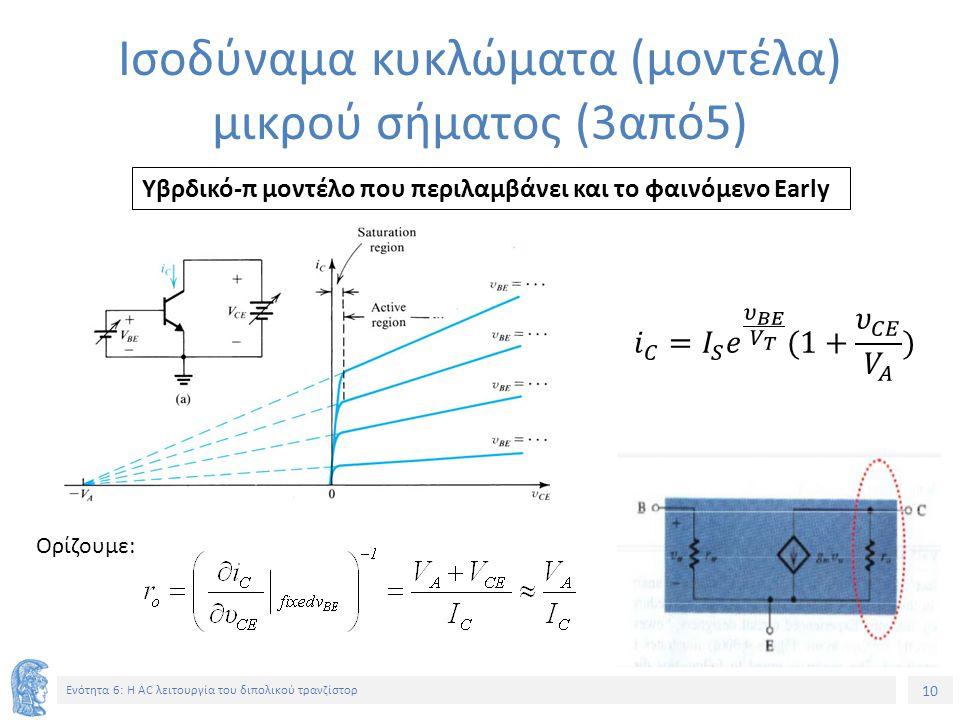 Ισοδύναμα κυκλώματα (μοντέλα) μικρού σήματος (3από5)