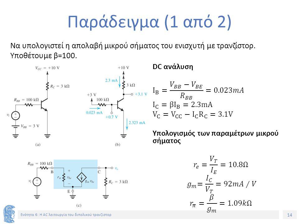 Παράδειγμα (1 από 2) Να υπολογιστεί η απολαβή μικρού σήματος του ενισχυτή με τρανζίστορ. Υποθέτουμε β=100.