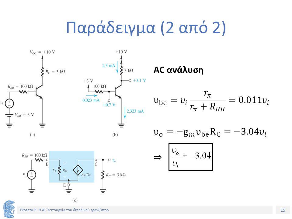 Παράδειγμα (2 από 2) AC ανάλυση υ be = 𝜐 𝑖 𝑟 𝜋 𝑟 𝜋 +𝑅 𝐵𝐵 =0.011 𝜐 𝑖 υ ο = −g 𝑚 υ be R C =−3.04 𝜐 𝑖 ⇒