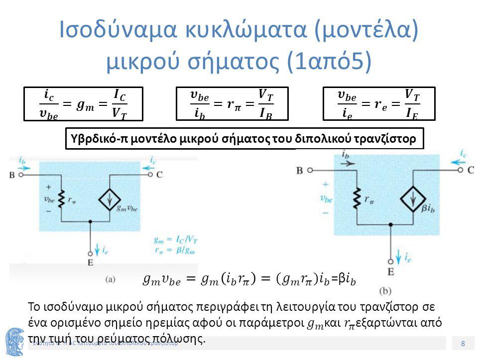Ισοδύναμα κυκλώματα (μοντέλα) μικρού σήματος (1από5)