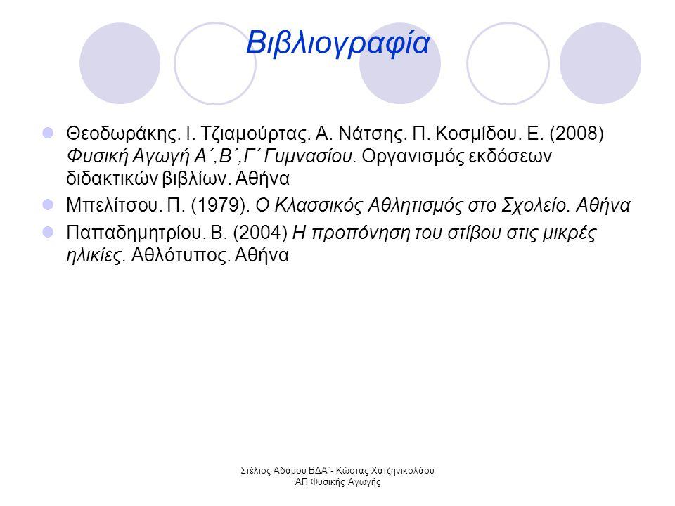 Στέλιος Αδάμου ΒΔΑ΄- Κώστας Χατζηνικολάου ΑΠ Φυσικής Αγωγής