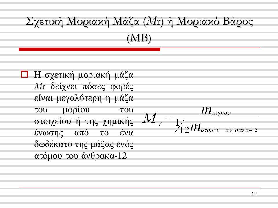 Σχετική Μοριακή Μάζα (Μr) ή Μοριακό Βάρος (ΜΒ)