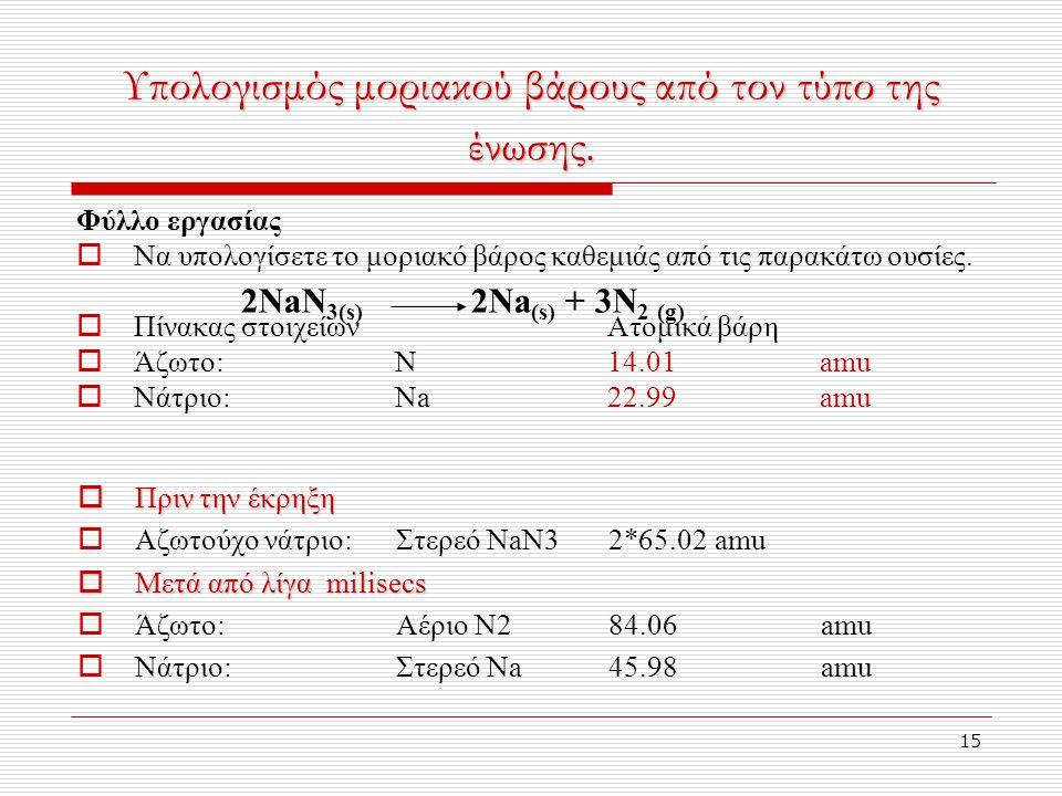Υπολογισμός μοριακού βάρους από τον τύπο της ένωσης.