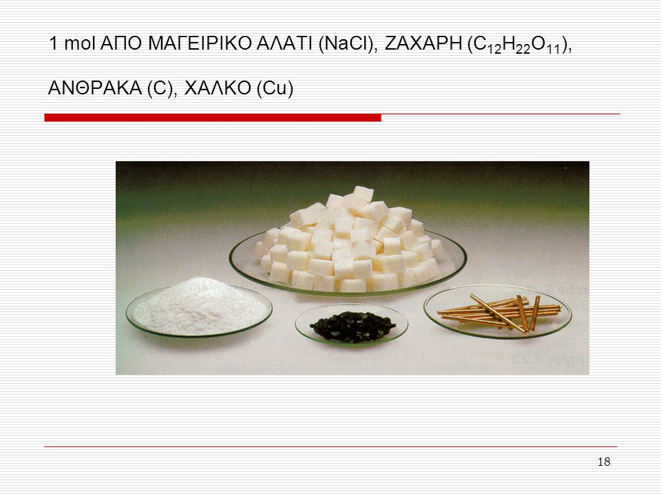 1 mol ΑΠΟ ΜΑΓΕΙΡΙΚΟ ΑΛΑΤΙ (NaCl), ΖΑΧΑΡΗ (C12H22O11), ΑΝΘΡΑΚΑ (C), ΧΑΛΚΟ (Cu)