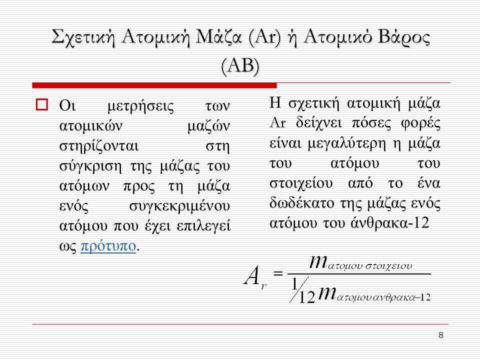 Σχετική Ατομική Μάζα (Ar) ή Ατομικό Βάρος (ΑΒ)