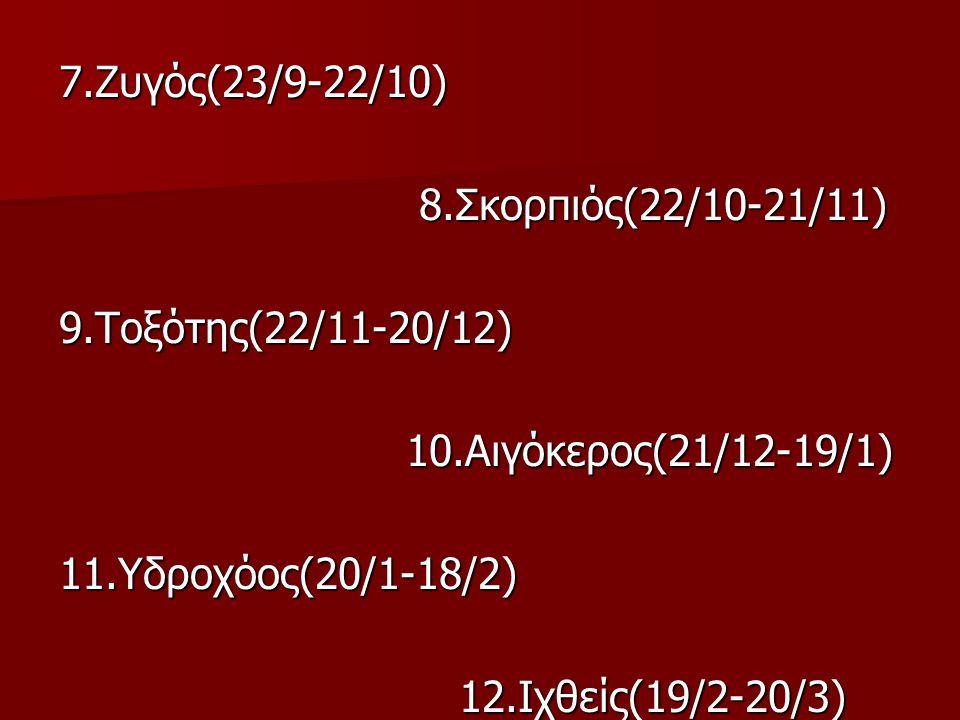 7. Ζυγός(23/9-22/10) 8. Σκορπιός(22/10-21/11) 9