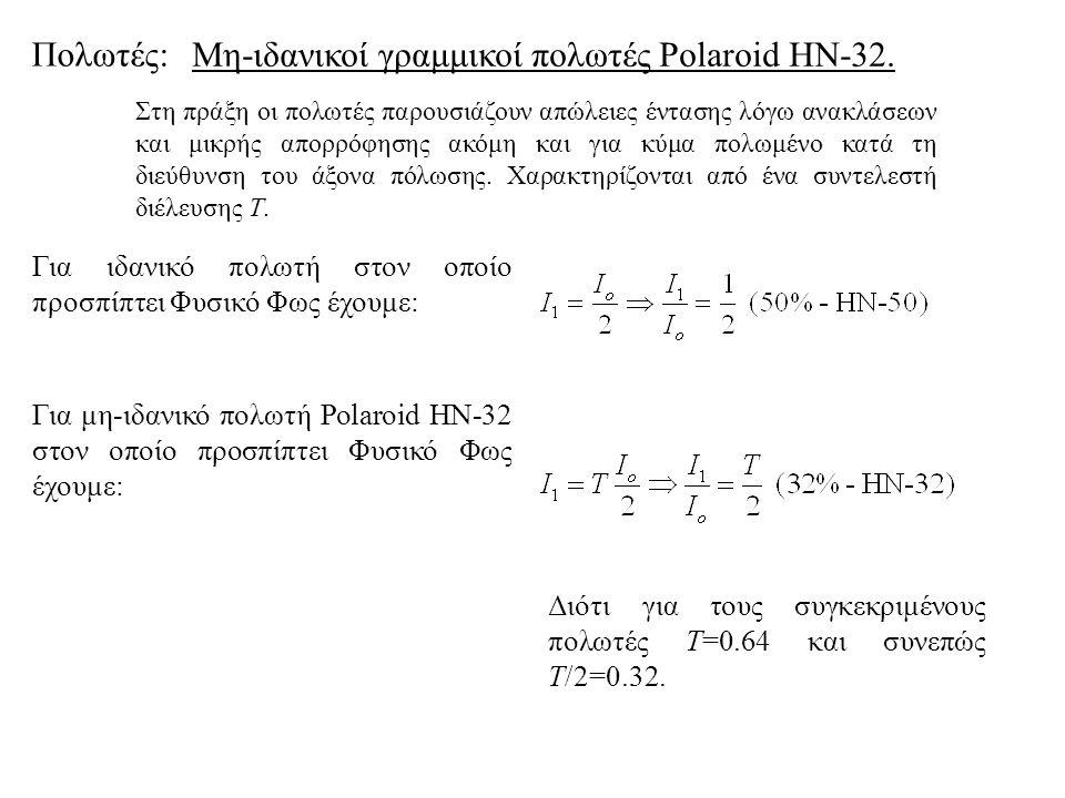 Μη-ιδανικοί γραμμικοί πολωτές Polaroid HN-32.
