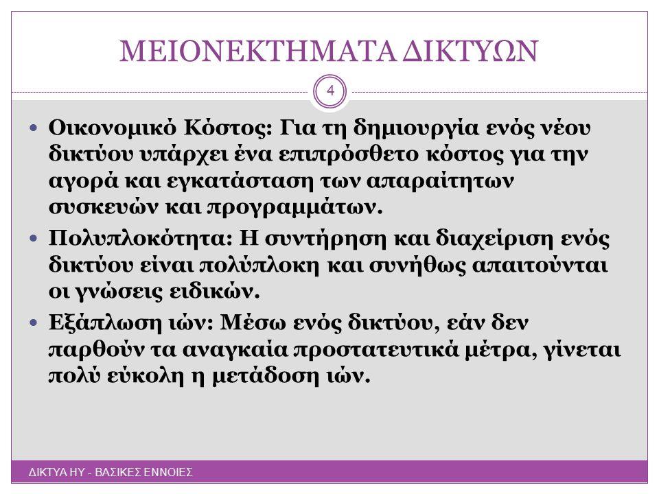 ΜΕΙΟΝΕΚΤΗΜΑΤΑ ΔΙΚΤΥΩΝ