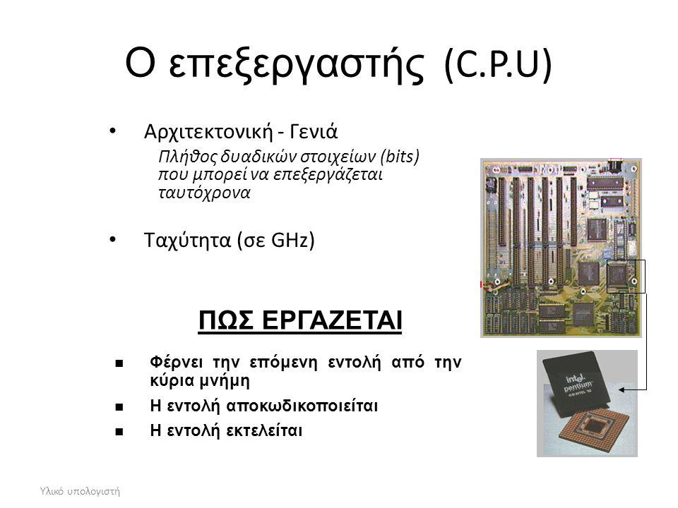 Ο επεξεργαστής (C.P.U) ΠΩΣ ΕΡΓΑΖΕΤΑΙ Αρχιτεκτονική - Γενιά