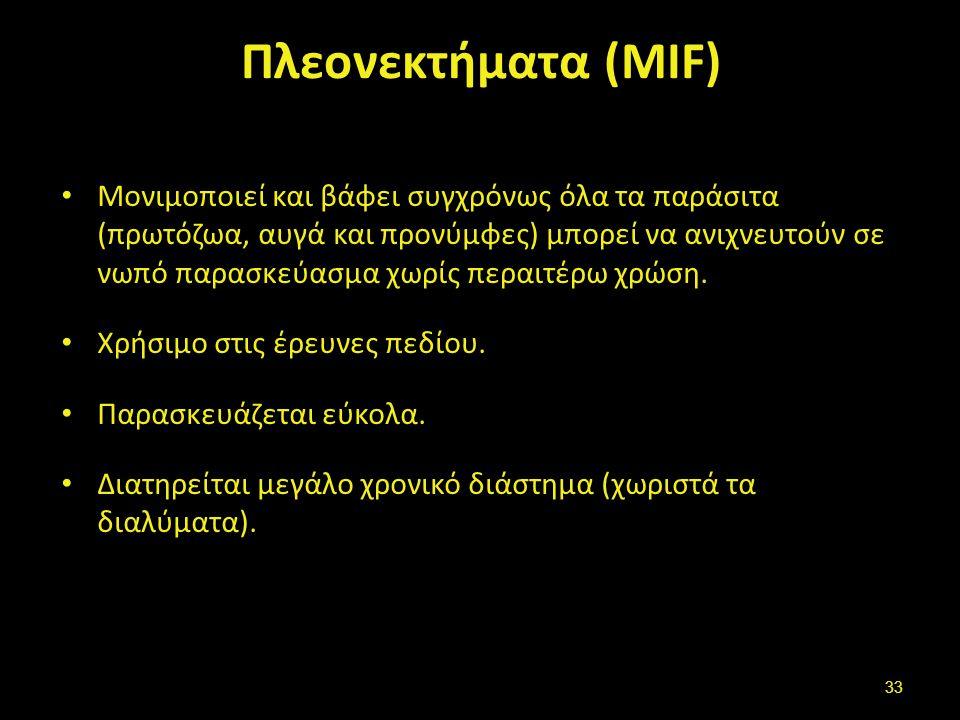 Μειονεκτήματα (MIF) Δύσκολο να εφαρμοστούν άλλες χρώσεις,