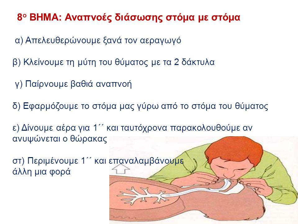 8ο ΒΗΜΑ: Αναπνοές διάσωσης στόμα με στόμα