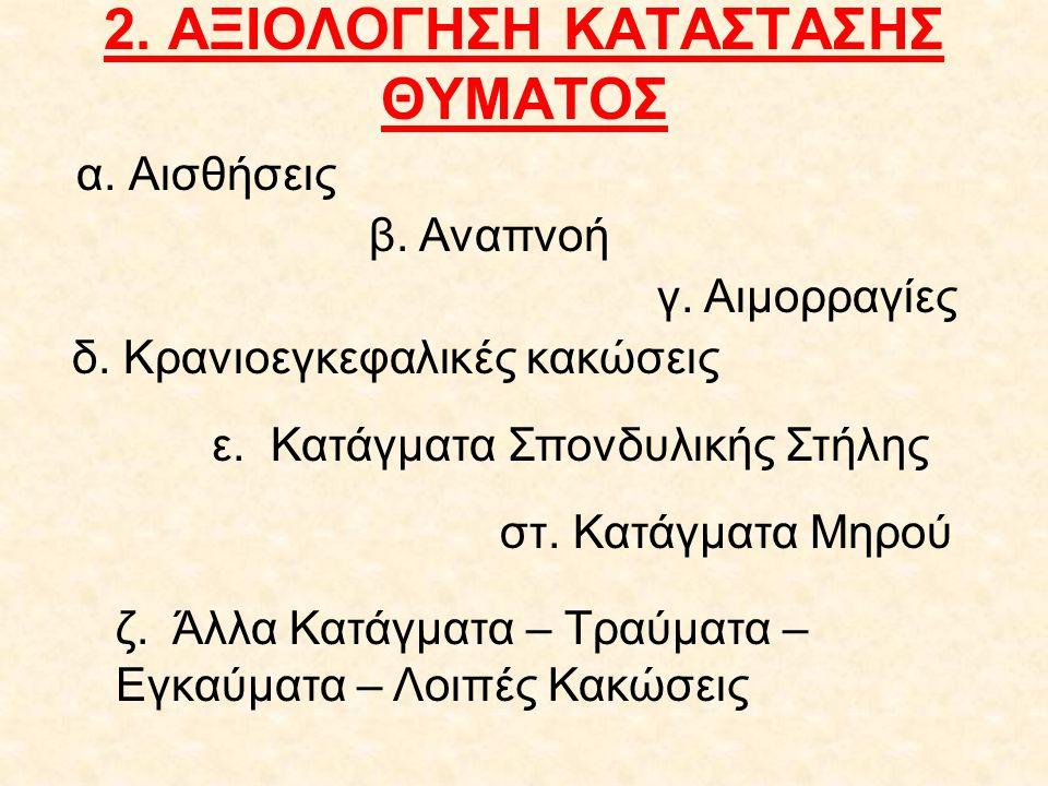 2. ΑΞΙΟΛΟΓΗΣΗ ΚΑΤΑΣΤΑΣΗΣ ΘΥΜΑΤΟΣ