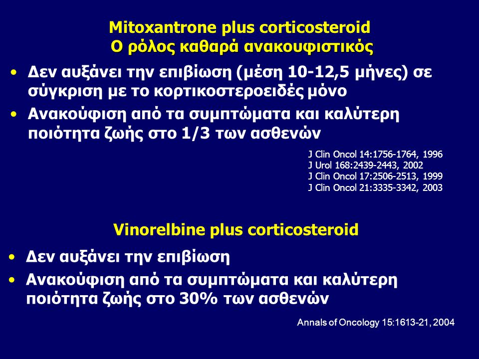 Mitoxantrone plus corticosteroid O ρόλος καθαρά ανακουφιστικός