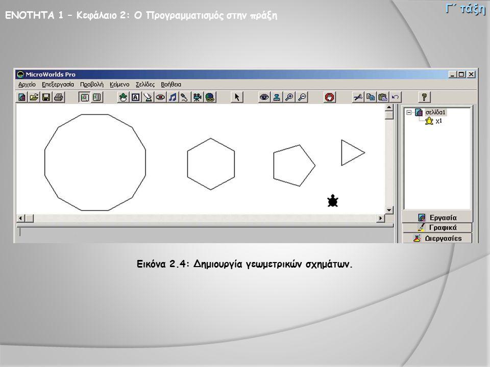 Εικόνα 2.4: Δημιουργία γεωμετρικών σχημάτων.
