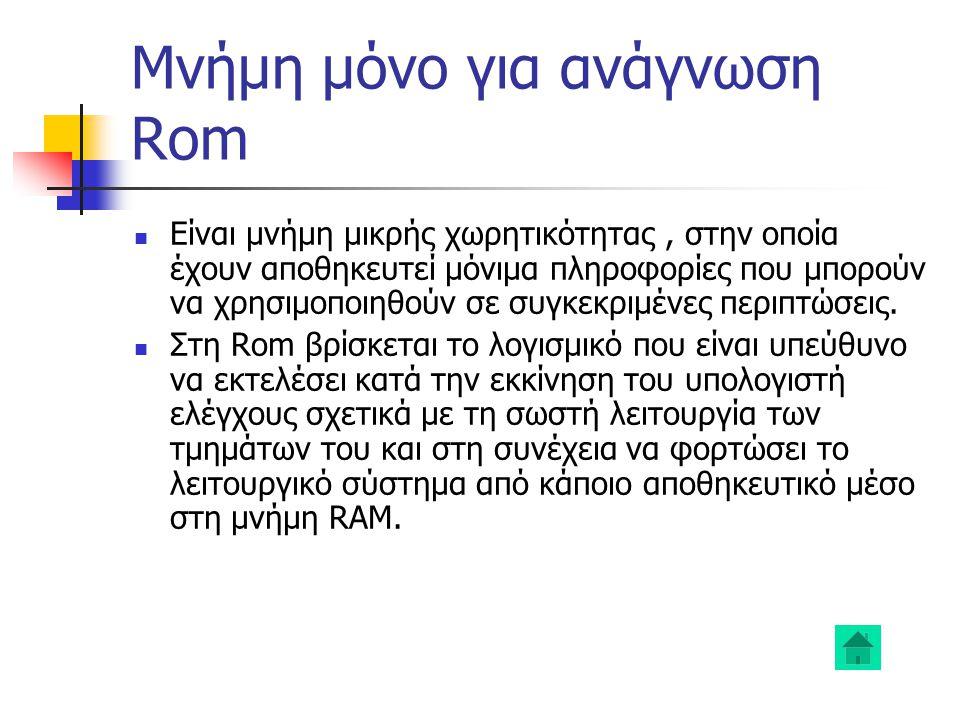 Μνήμη μόνο για ανάγνωση Rom