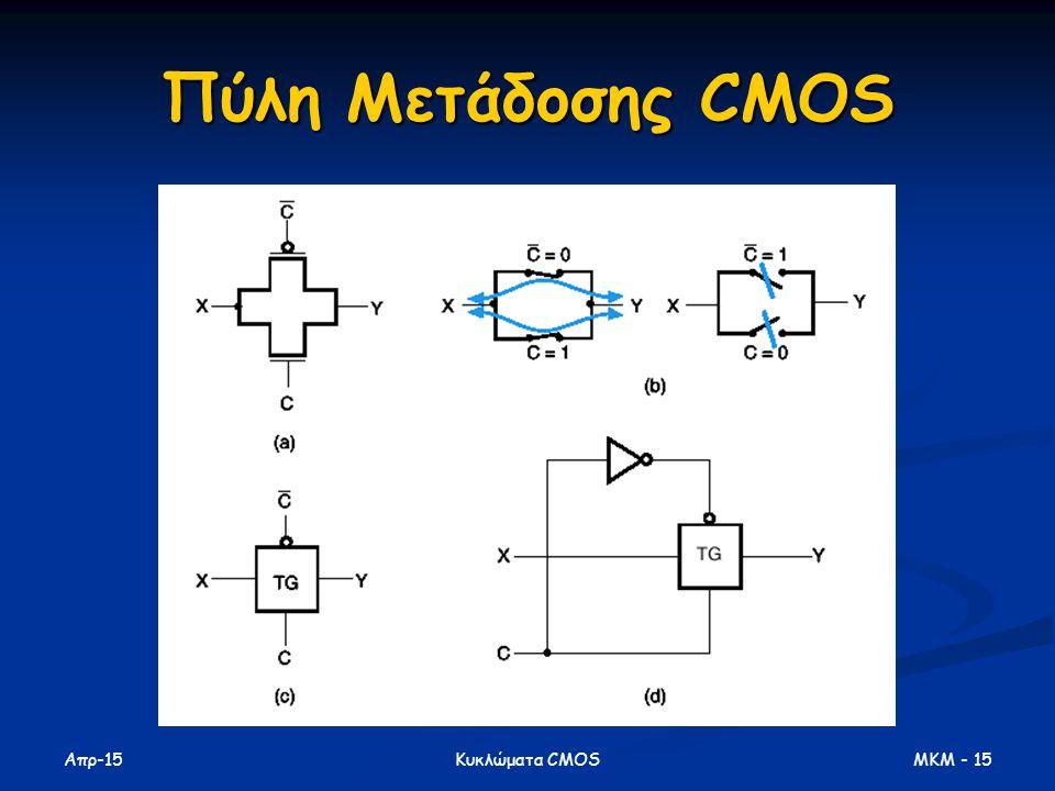 Πύλη Μετάδοσης CMOS Απρ-17 Κυκλώματα CMOS