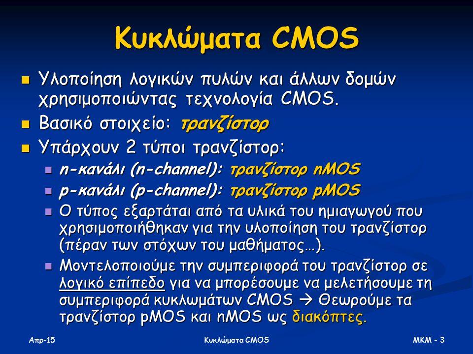 Κυκλώματα CMOS Υλοποίηση λογικών πυλών και άλλων δομών χρησιμοποιώντας τεχνολογία CMOS. Βασικό στοιχείο: τρανζίστορ.
