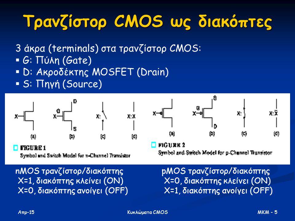 Τρανζίστορ CMOS ως διακόπτες