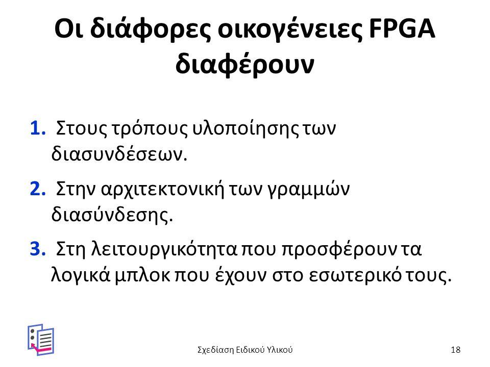 Οι διάφορες οικογένειες FPGA διαφέρουν