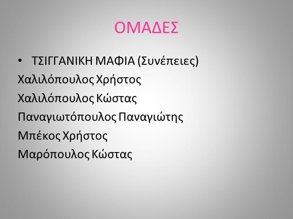 ΟΜΑΔΕΣ ΤΣΙΓΓΑΝΙΚΗ ΜΑΦΙΑ (Συνέπειες) Χαλιλόπουλος Χρήστος