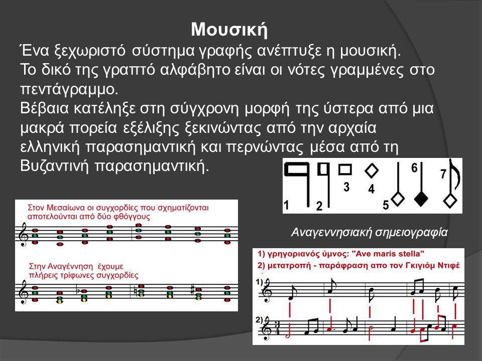 Μουσική Ένα ξεχωριστό σύστημα γραφής ανέπτυξε η μουσική.